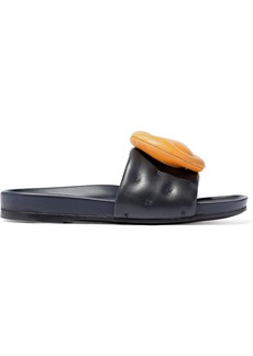 Anya Hindmarch Woman Appliquéd Quilted Leather Slides Midnight Blue