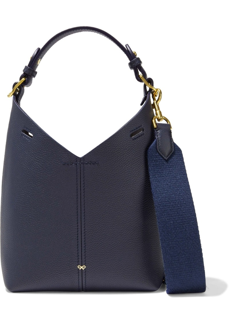 Anya Hindmarch Woman Build A Bag Mini Pebbled-leather Shoulder Bag Navy