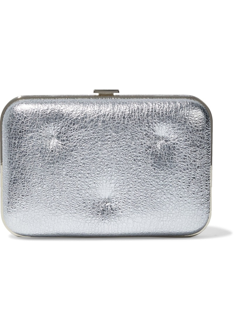 Anya Hindmarch Woman Chubby Quilted Metallic Cracked-leather Box Clutch Silver