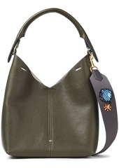 Anya Hindmarch Woman Embellished Pebbled-leather Shoulder Bag Army Green