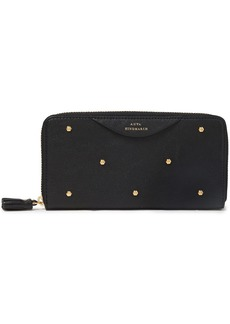 Anya Hindmarch Woman Hexagon Studded Textured-leather Continental Wallet Black