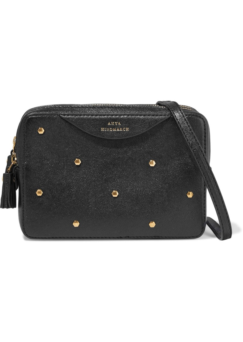 Anya Hindmarch Woman Hexagon Studded Textured-leather Shoulder Bag Black