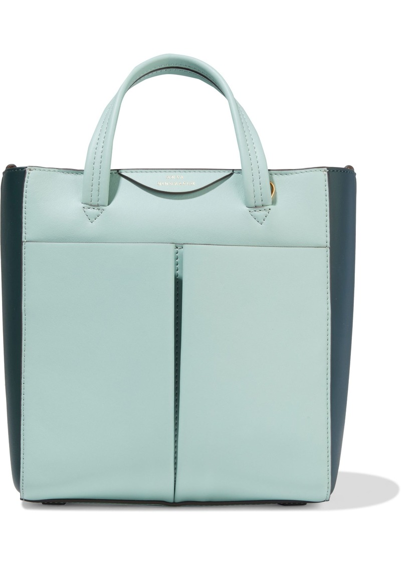 Anya Hindmarch Woman Mini Nevis Two-tone Leather Tote Mint