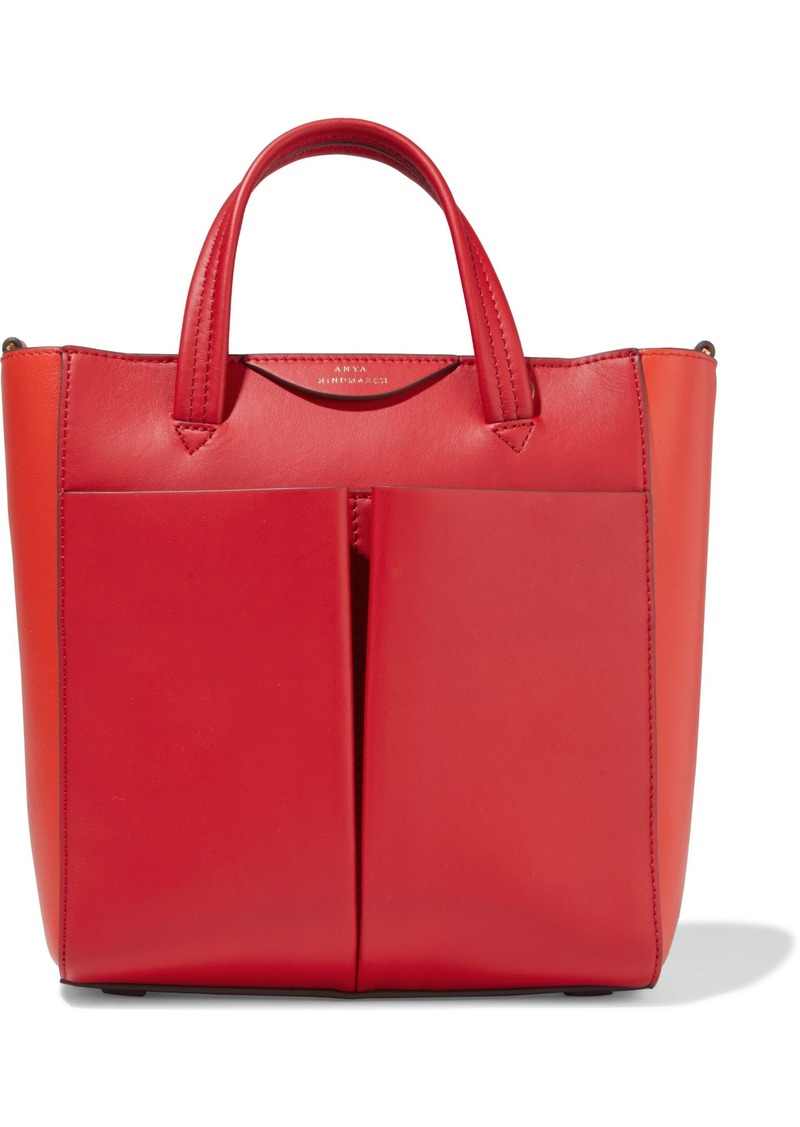 Anya Hindmarch Woman Mini Nevis Two-tone Leather Tote Red