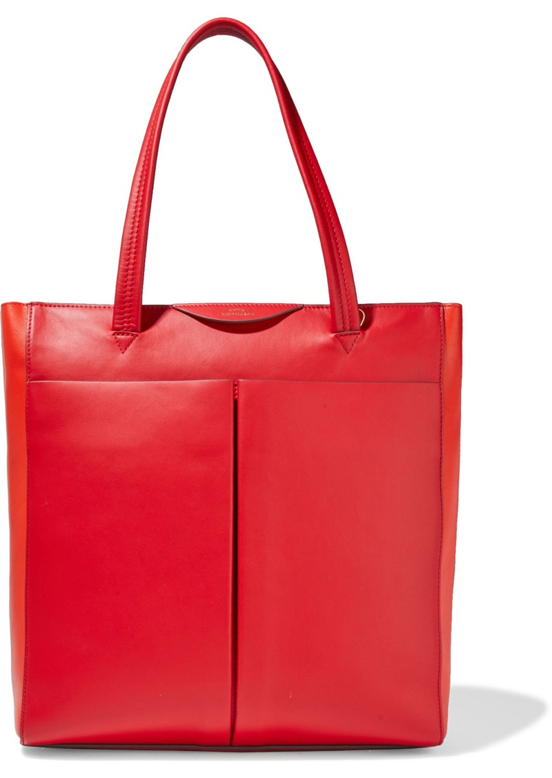 Anya Hindmarch Woman Nevis Two-tone Leather Tote Tomato Red