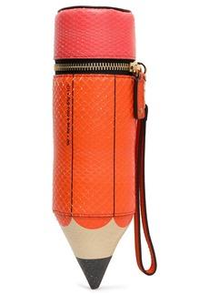Anya Hindmarch Woman Pencil Case Printed Python Clutch Orange