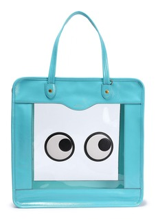 Anya Hindmarch Woman Rainy Day Appliquéd Pvc And Crinkled Patent-leather Tote Turquoise