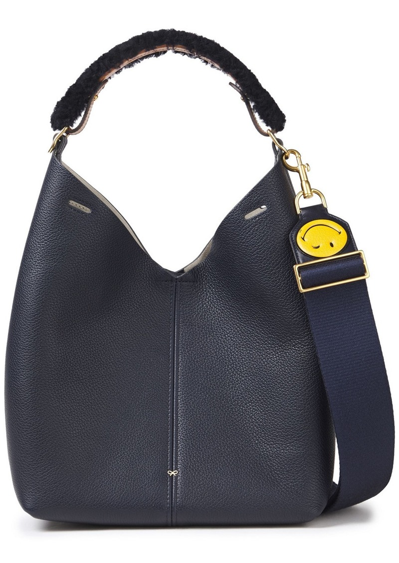 Anya Hindmarch Woman Shearling-trimmed Pebbled-leather Shoulder Bag Navy