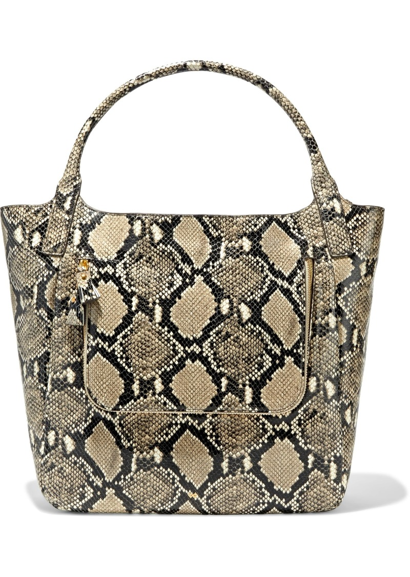 Anya Hindmarch Woman Vere Snake-effect Leather Tote Animal Print