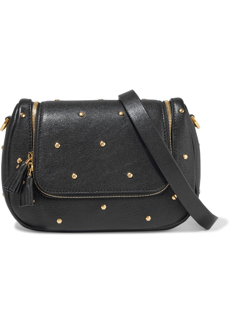 Anya Hindmarch Woman Vere Studded Textured-leather Shoulder Bag Black