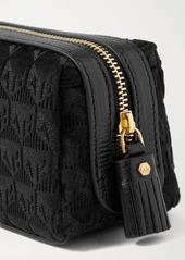 Anya Hindmarch Girlie Stuff Leather-trimmed Velvet-jacquard Pouch
