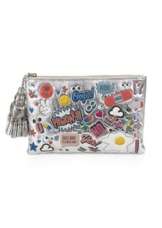Anya Hindmarch Graphic Tassel Metallic Leather Pouch