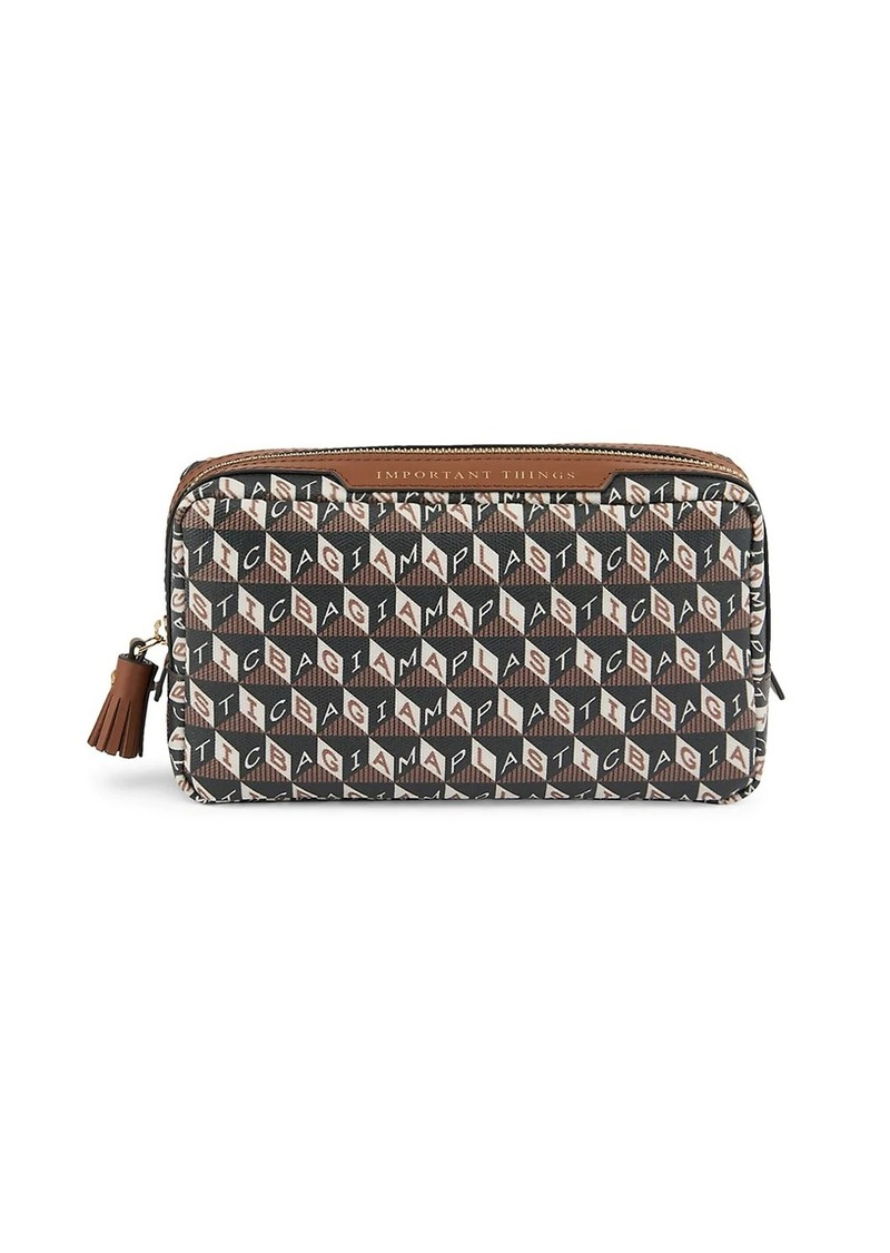 Anya Hindmarch I Am A Plastic Bag Important Things Leather-Trim Pouch