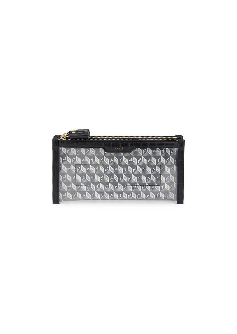 Anya Hindmarch I Am A Plastic Bag Mini Filing Leather-Trim Cabinet Makeup Bag
