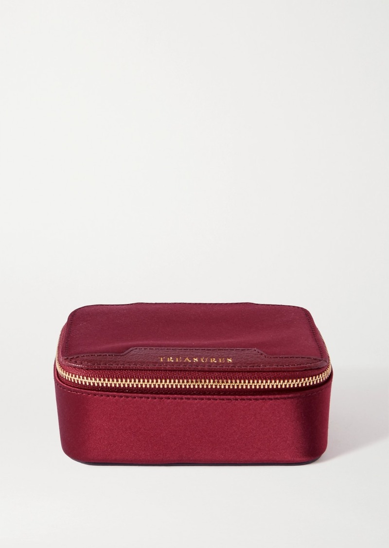 Anya Hindmarch Keepsake Printed Leather-trimmed Satin Jewelry Case