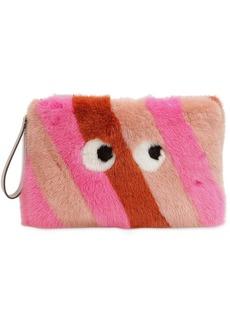 Anya Hindmarch Large Furry Mink Fur Clutch W/ Eyes