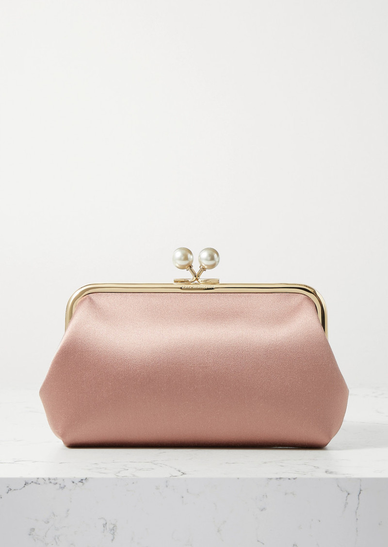 Anya Hindmarch Maud Faux Pearl-embellished Satin Clutch