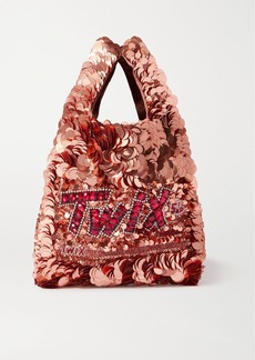 Anya Hindmarch Mini Embellished Sequined Satin Tote