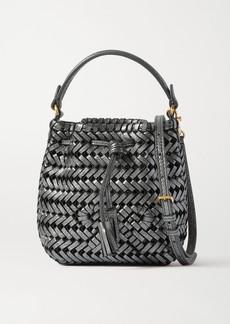 Anya Hindmarch Neeson Drawstring Micro Woven Metallic Crinkled-leather Bucket Bag