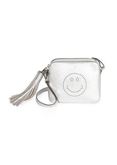 Anya Hindmarch Perforated Smiley Metallic Leather Crossbody Bag