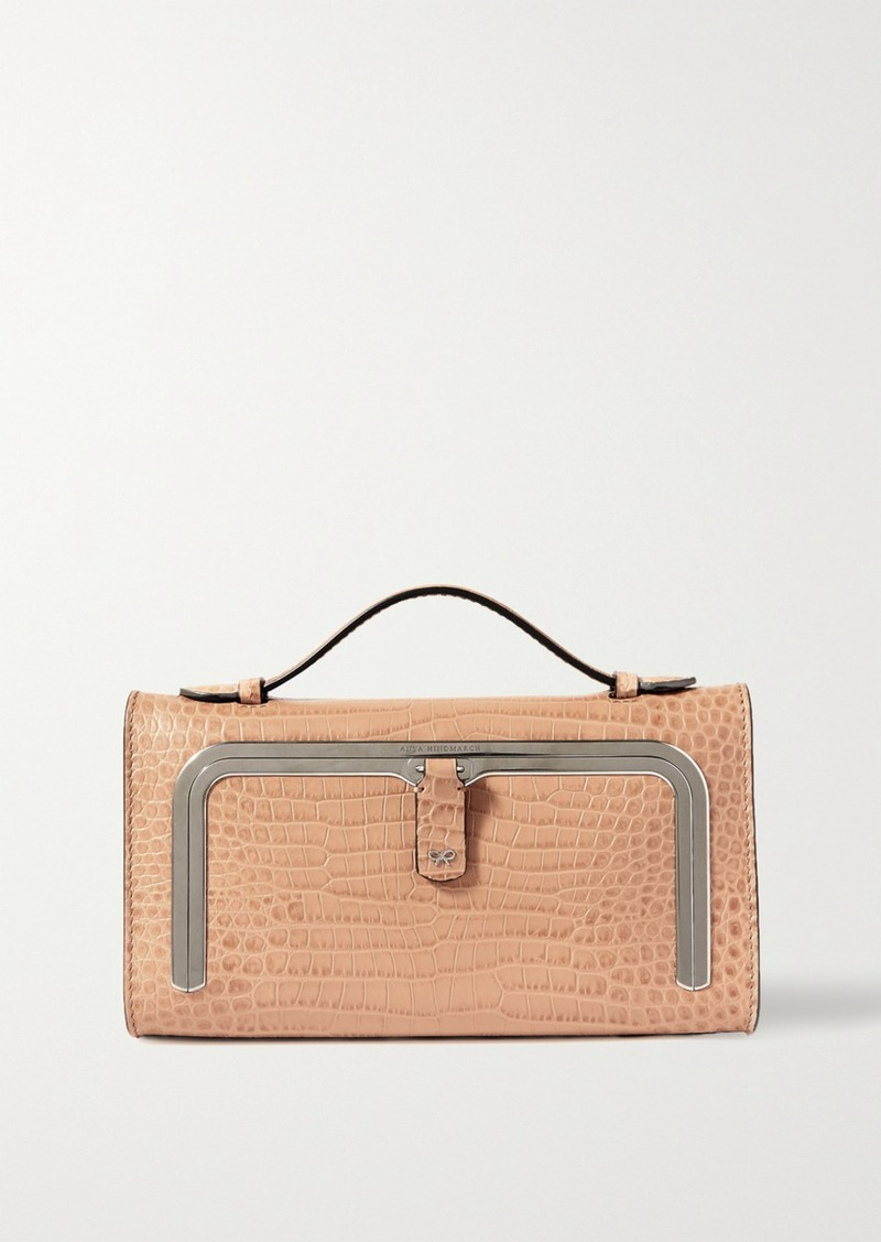 Anya Hindmarch Postbox Mini Croc-effect Leather Tote