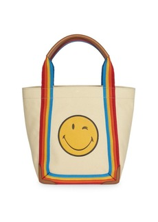 Anya Hindmarch Small Smiley Face Rainbow Trim Canvas Tote Bag