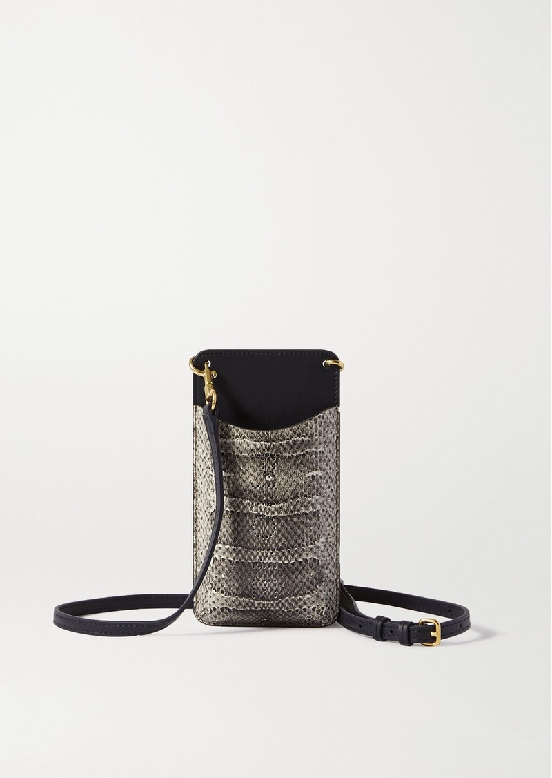 Anya Hindmarch Smooth And Perforated Snake-effect Leather Phone Case