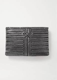 Anya Hindmarch The Neeson Large Woven Metallic Leather Clutch