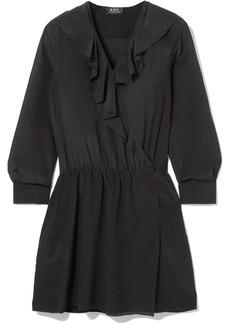 A.P.C. Ada Ruffled Silk-chiffon Wrap Mini Dress