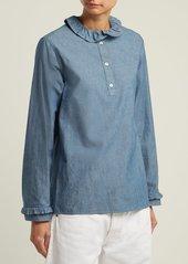 A.P.C. Agathe ruffle-trimmed cotton-blend blouse