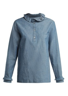 A.P.C. Agathe ruffle-trimmed cotton-blend blouse