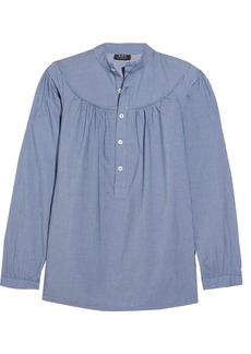 A.P.C. Atelier de Production et de Création Ingalls ruched striped cotton blouse