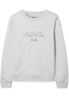 Printed cotton-blend terry sweatshirt