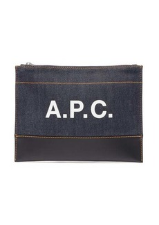 A.P.C. Axel leather and denim pouch