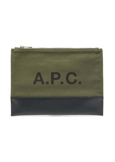 A.P.C. Axel logo-print canvas and leather pouch