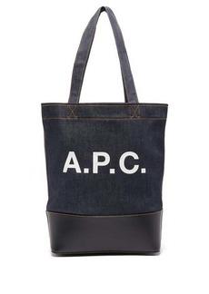 A.P.C. Axel logo-print denim tote bag