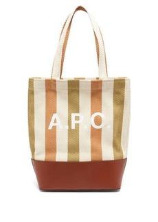 A.P.C. Axelle leather-trim logo-print canvas tote bag