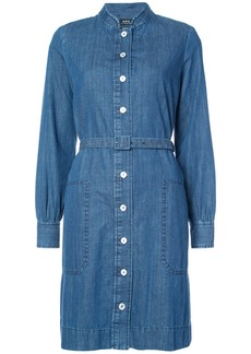 A.P.C. band collar denim shirt dress - Blue