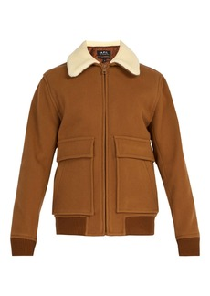 A.P.C. Bronze faux shearling-trimmed wool-blend jacket