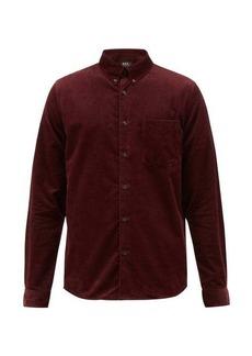 A.P.C. Button-down cotton-needlecord shirt