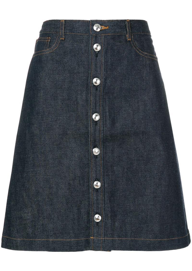 A.P.C. buttoned denim skirt