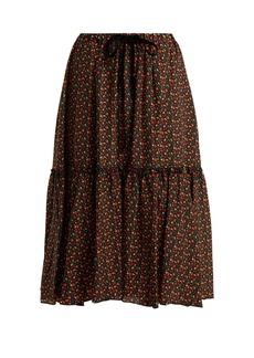 A.P.C. Camille cherry-print silk crepe de Chine skirt