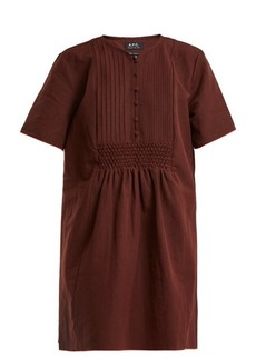 A.P.C. Christie smocked linen and cotton-blend dress