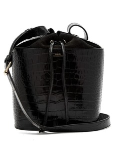 A.P.C. Clara crocodile-effect leather bucket bag