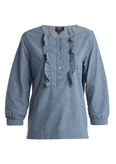 A.P.C. Cléo ruffle-front chambray cotton blouse