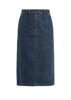 A.P.C. Constance high-rise denim midi skirt