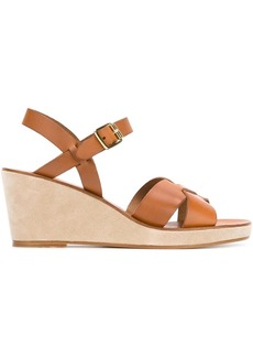 A.P.C. crossover strap wedge sandals - Nude & Neutrals