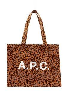 A.P.C. Diane logo and leopard-print canvas tote bag