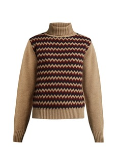 A.P.C. Directrice intarsia wool roll-neck sweater