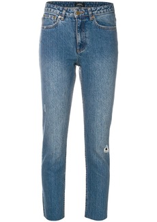 A.P.C. distressed cropped jeans - Blue
